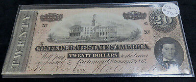 1864 $20.00 Confederate States Note Richmond