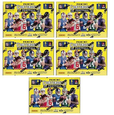 5x 2018 Panini Contenders Football sealed blaster box 5 packs 8 NFL cards 1 hit