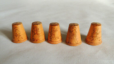 5 Wooden Thimbles.. Pyrography Scottish Children Games.. Vintage Handmade