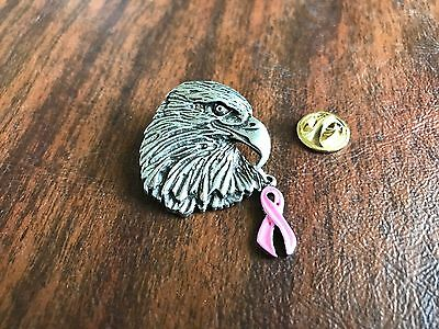 2 BALD EAGLE PINS with PINK RIBBON BREAST CANCER All New.