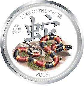 Niue 2013 $2 Lunar Year of the Snake -  Coral Snake 1/2 Oz Silver Proof Coin