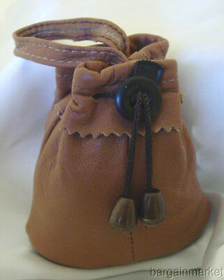 Leather Drawstring Coins Marble Trinket Jewelry Pouch