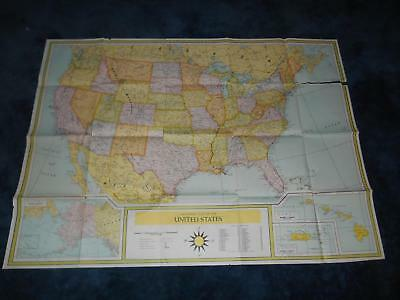 "Old Vtg Universal MAP OF THE UNITED STATES Wall Hanging  U.S. 49""x 35 1/2"""