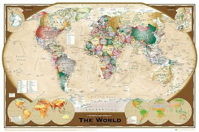 POSTER A4 PLASTIFIE-LAMINATED 1 FREE//1 GRATUIT WORLD MAP. * CARTE DU MONDE