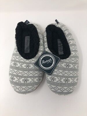 579525950fb Pembrook Sz M 7 8 Womens Knit White Gray Slippers Foam Cushion Non Slip NWT