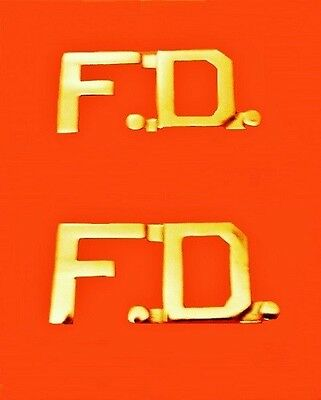 F.D. Fire Department Collar Pin FD Insignia Set Gold Cut Out Letters 2508 New
