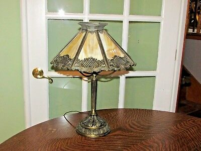 """Vintage Bradley and Hubbard 20"""" 8 Panel Slag Glass Arts and Crafts Lamp marked"""