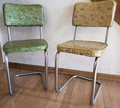 Pair Of Chrome And Vinyl Vintage 1950s Dinette Chair Atomic Abstract Pattern