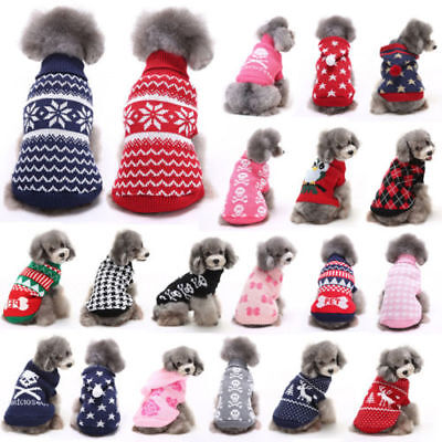 Knitted Dog Jumper Winter Warm Coat Pet Clothes Sweater For Small Medium UK Post
