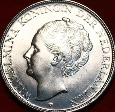 Uncirculated 1944 Netherlands 2 1/2 Gulden Silver Foreign Coin