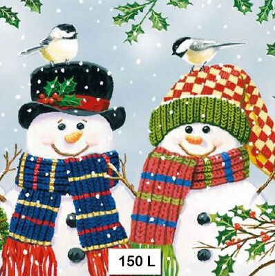 (150) TWO Individual Paper Luncheon Decoupage Napkins - SNOWMAN COUPLE, WINTER