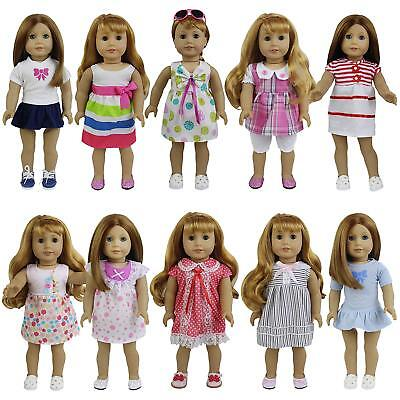 "8 Sets Girl Baby Doll Clothes Dress Skirt For 14-16 inch and 18"" Dolls Kid Gifts"