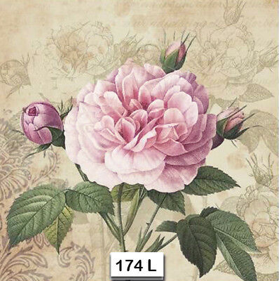 (174) TWO Individual Paper Luncheon Decoupage Napkins - PINK, ROSES, FLOWER