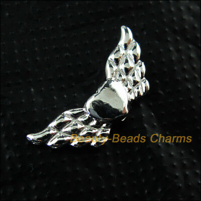 15 New Animal Heart Wings Charms Silver Plated Spacer Beads 9x22mm