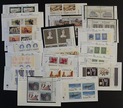 Canadian Lot Of Misc. Plate Block Varieties M/mn Cond. Stamps, Unitrade Bv$678