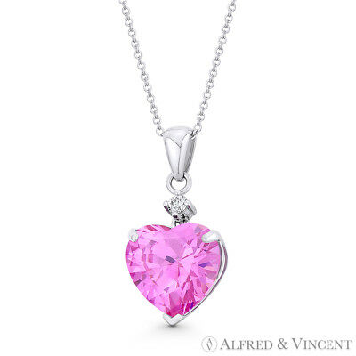 Heart-Shaped Faux Tourmaline Pink CZ Crystal 20mmx9mm Pendant in 14k White Gold