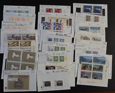 Canadian Lot Of Misc. Plate Block Varieties M/mn Cond. Stamps, Unitrade Bv$842