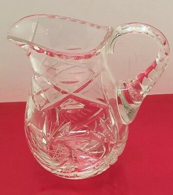 Vtg Antique Etched Star Crystal Glass Water Creamer Holiday Serving Pitcher Jug