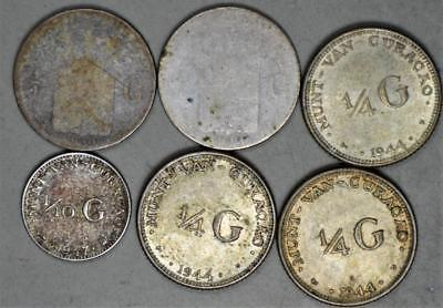 Curacao Lot of 6 Silver Coins