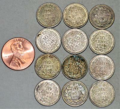 Netherlands 10 Cents Lot of 12 Silver Coins