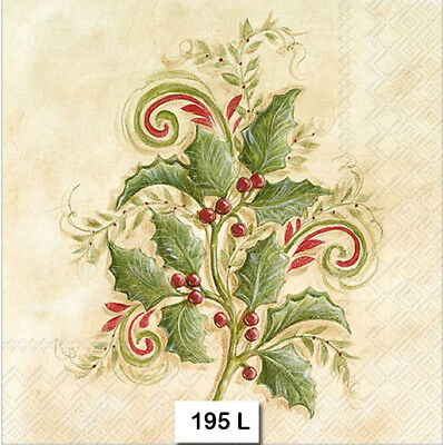 (195) TWO Individual Paper Luncheon Decoupage Napkins - HOLLY BRANCH, CHRISTMAS