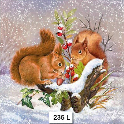 Two Individual Paper Luncheon Decoupage Napkins Squirrel Autumn Gray 764