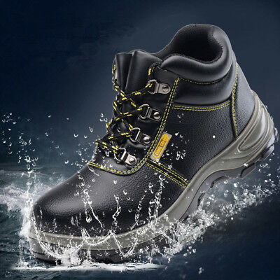 AtreGo Men Safety Waterproof Steel Toe Anti-Slip Ankle Boots High Top Work Shoes