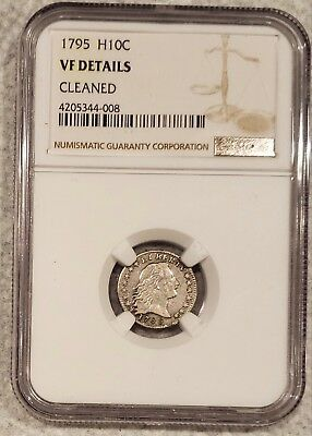 1795 Flowing Hair Half Dime H10C - NGC VF Details Cleaned   Rare Certified Coin!