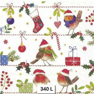 (340) TWO Individual Paper Luncheon Decoupage Napkins - CHRISTMAS STOCKINGS BIRD