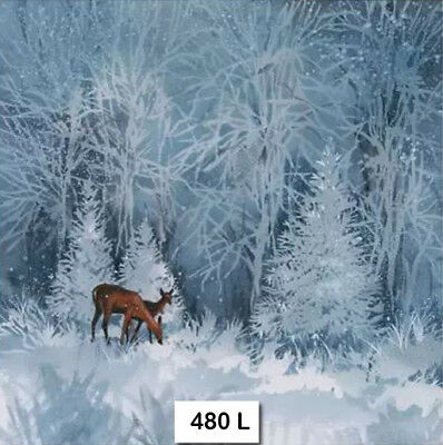 (480) TWO Individual Paper Luncheon Decoupage Napkins - DEER  WINTER SNOW FOREST