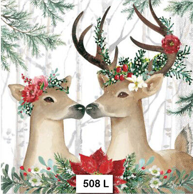 (508) TWO Individual Paper Luncheon Decoupage Napkins - CHRISTMAS, DEER, PAIR