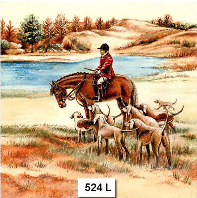 (524) TWO Individual Paper Luncheon Decoupage Napkins - HUNTER DOGS HORSE AUTUMN