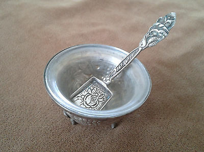 Vintage Bunches of Grapes Hammering Silver 800 Salt Cellar with Spatula, Israel