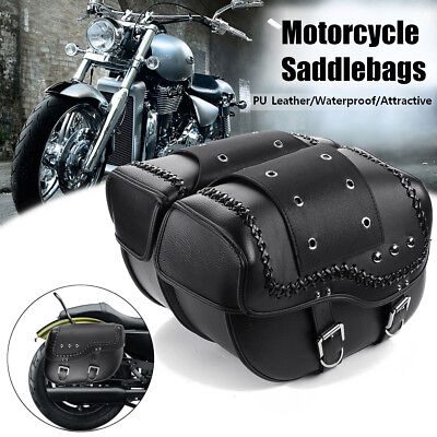 2X Motorcycle PU Leather Saddle Bags Side Pouch For Harley Sportster XL 883 1200