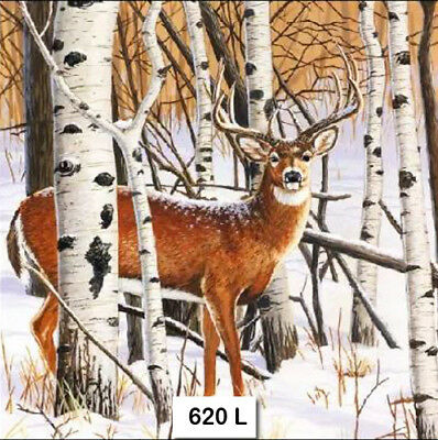 (620) TWO Individual Paper Luncheon Decoupage Napkins - DEER WINTER FOREST SNOW