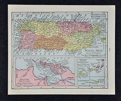 1917 McNally Map Porto Rico - Puerto Rico - San Juan - Mona Crab Virgin Islands