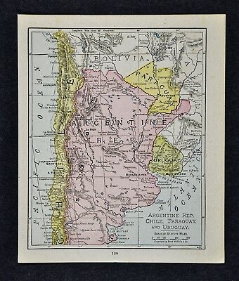 1917 McNally Map - Argentina Uruguay Paraguay Buenos Aires Chile - South America