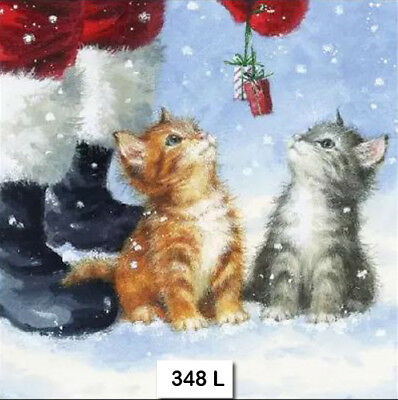 (348) TWO Paper Luncheon Decoupage Napkins - CHRISTMAS, SANTA, KITTENS CATS
