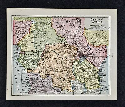 1917 McNally Map - Central Africa - Belgian Congo Angola British German East