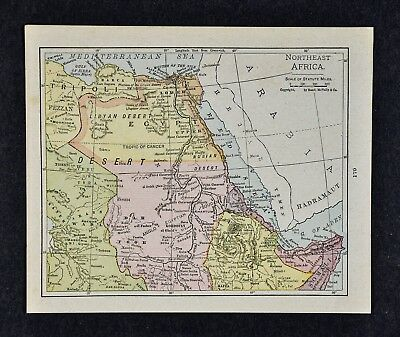 1917 McNally Map - Northeast Africa - Egypt Abyssinia Nubia Cairo Alexandria