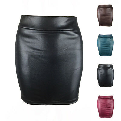 Sexy Womens PU Leather Skirt Straight Hip Pencil Short Mini Boydcon Skirts Dress