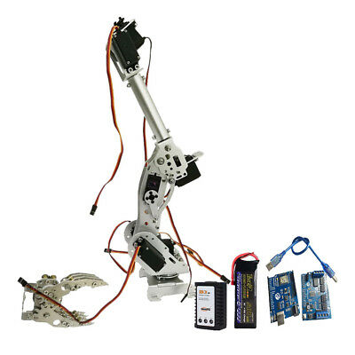 WIFI Metal 8DOF Robot Arm Gripper Kit 15kg/cm Servo Power Suite Silver