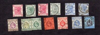 HONG KONG.1870s-1910s. 13 x DIFF'T QUEEN VICTORIA/EDWARD VII STAMPS.V.G.U.