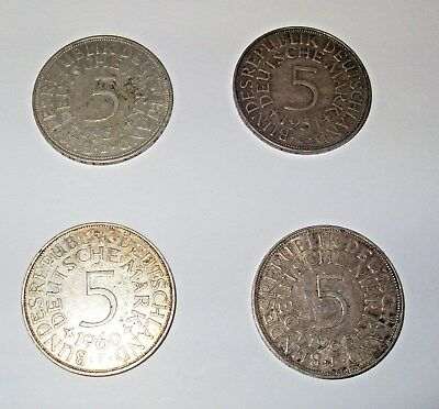 Germany, 4 - 5 Mark Coins (0.625 Silver), 1951x 2,  1960 & 1965, VF/F