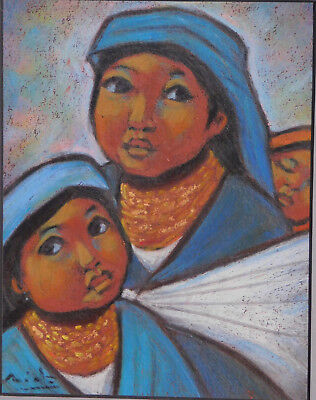 Vintage Modern  Mexican Oil Painting Mother Children SIGNED Latin American Art