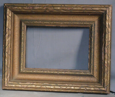 Vintage Arts Crafts Bronze Gilt Carved Wood Picture Frame 6x9 Antique Original