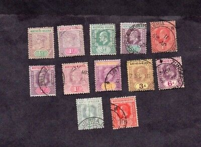 NORTHERN NIGERIA.1890s-1930s.QV TO GEORGE V.12 x DIFF'T GOOD USED STAMPS.