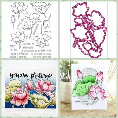 Lotus Group Metal Cutting Dies and Clear Stamp Stencils DIY Scrapbook Handcrafts