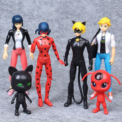 6PCS Miraculous Ladybug Action Figures Doll Tikki Noir Cat Plagg Adrien Toys Set