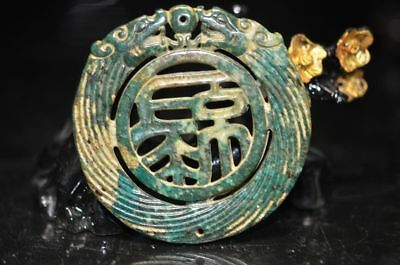 China's unique old jade hand carved double-sided Fu Amulet Pendant  a42